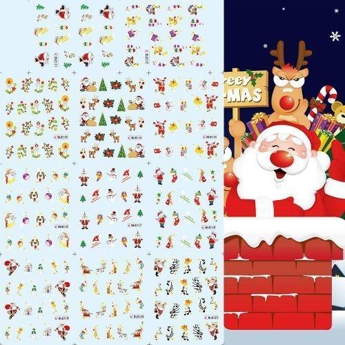 Cinq Saison Neuf Trendy mélange 3D Noël Nail Art Embouts Lot Décalque Wrap Sticker À L'eau Stickers bricolage décoration Mode Cadeau De Noël