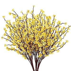 HUAEISN 3pcs Flores Artificiales Exterior Interior Flor Orquidea Artificial Rama Amarillo Bouquet Flores Artificiales…