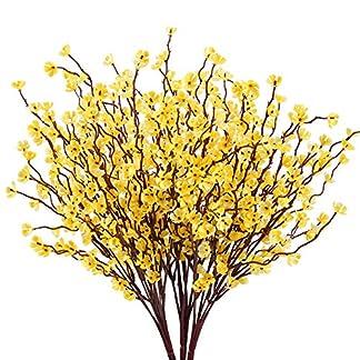HUAEISN 3pcs Flores Artificiales Exterior Interior Flor Orquidea Artificial Rama Amarillo Bouquet Flores Artificiales Oncidium de Seda para Hogar Boda Decoracion Jarrones Fiesta Jardin Oficina Mesa