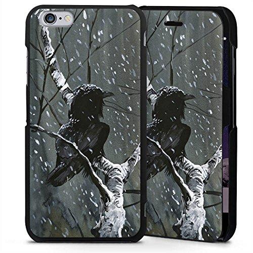 Apple iPhone 6 Plus Handyhülle mit Klappfunktion schwarz Lederhülle Flip Case Raven Rabe Forest (Raben Garn)