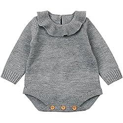 QUICKLYLY Mameluco Punto Invierno Recién Nacido Bebé Niño Niña Manga Larga Elástico Mono Peleles Ropa (Gris, 0~6 Mes(73))