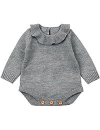 QUICKLYLY Mameluco Punto Invierno Recién Nacido Bebé Niño Niña Manga Larga  Elástico Mono Peleles Ropa a389e7512a48