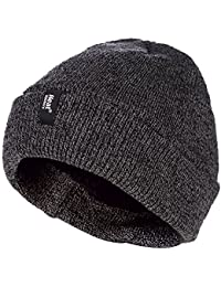 Heat Holders - Mens 3.6 tog Fleece Lined Thermal Turn Over Cuff Winter Beanie Hat 3 Colours