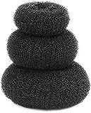 JAMPAKTM 3 Pieces Hair Donut Bun Maker Hair Ring Styler Maker Round Chignon for Women, Black Bun Hair Accessory Set Bun (Black)