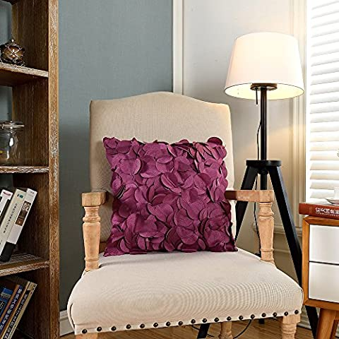 QINUO HOME K3 Two Sets per Package Circular Leaves Pattern Plum Pillow Slip with Insert Filling Large Square Lightweight Seat Cushion 18x18Inch/45x45cm Hidden Slide Fastener Design for Couch/School/Chaises Longues/Corner/Love Seats