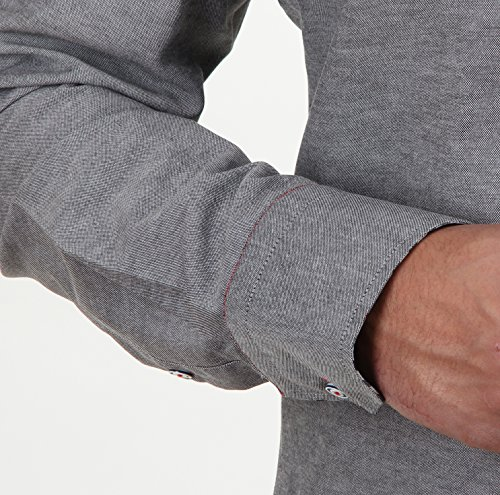 SLIM FIT Button-Down-Kragen Hemd, für Herren BESTE QUALITÄT, HK Mandel Slim Fit Langarm Freizeithemd, 5254 Grau Stonewash