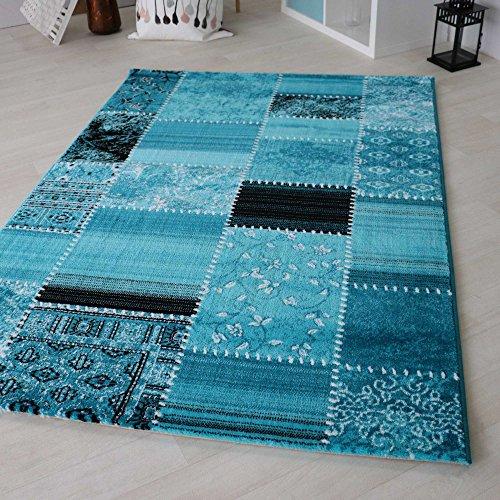 Kurzflor Teppich in Türkis, Rot und Bunt Groß mit Vintage Patchwork Design, hochwertige Webung geeignet für Wohnzimmer und andere Räumlichkeiten. Öko-Tex Zertifiziert [Maya] (120 x 170 cm, Türkis)