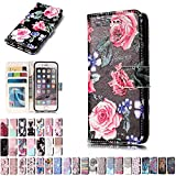 LA-Otter Coque Apple iPhone 6S 6 Fleur Rose Flip Case Housse Etui à Rabat Folio...