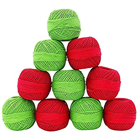 Red Green Cotton Crochet Fils discussion Skeins broderie tricot boule
