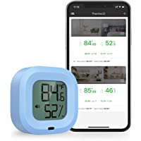 Brifit Wireless Thermometer Hygrometer, Bluetooth 5.0 Humidity Temperature Sensor with Data Export for iOS Android, Alarm Function, 35m Wireless Range, for House, Guitar Case, Greenhouse (Blue)