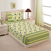 Doppia Dimensione popeline di cotone Sheet Set - Con 152 cm x 228 cm lamiera piana e 50 cm per 81 centimetri federa - Verde Giallo Floral & Stripes