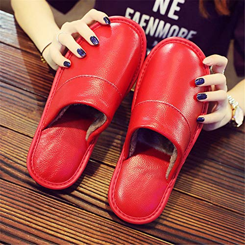 NIGHT WALL Bequeme Slip-onIndoor Baumwollslipperwinter Herren und Damen warme Lederpantoffeln, rot, 41House Shoes Indoor & Outdoor