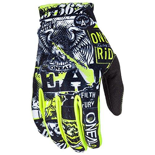 O'Neal Matrix Kinder Handschuhe Attack Neon Gelb Hi-Viz MX MTB DH Motocross Enduro Offroad, 0388R-0, Größe S