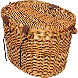 PedalPro Vintage Wicker Bicycle Basket with Folding Lid & Leather Straps