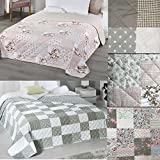 PROHEIM Wende-Tagesdecke Patchwork 220 x 240 cm als Bettüberwurf Oder Sofaüberwurf Decke in Verschiedenen Designs...
