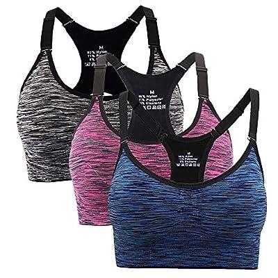 Aibrou Damen Sport BH Starker Halt Bustier Push up Yoga Bra Top für Fitness Training