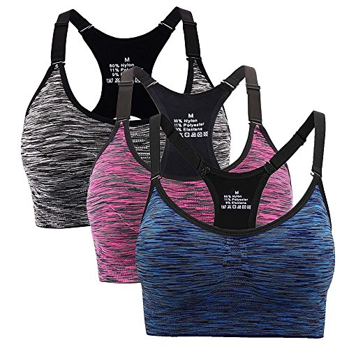 Aibrou reggiseno sportivo da donna, reggiseno sportivo da ginnastica imbottito da corsa da jogging (m, blue, purple,black)