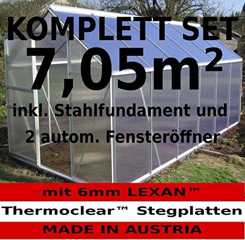 KOMPLETTSET: 7,05m² ALU Aluminium Gewächshaus Glashaus Tomatenhaus, 6mm Hohlkammerstegplatten - (Platten MADE IN AUSTRIA/EU) m. Stahlfundament, 2 Fenster mit 2 autom. Fensteröffner von AS-S