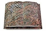 MEMORUM Grabmale Grabbuch, Grabplatte, Grabstein, Grabkissen, Urnengrabstein, Liegegrabstein Modell Livre Pagina 40 x 30 x 8-9 cm Paradiso-Granit, Poliert inkl. Gravur (Aluminium-Ornament Gingko 2)