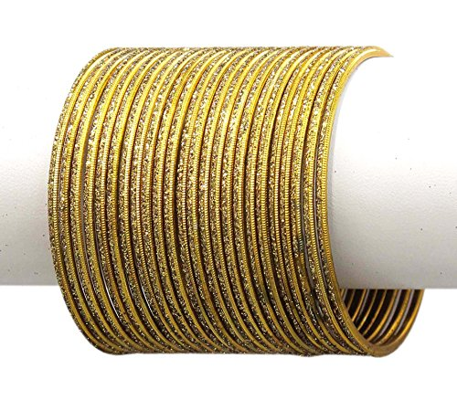 MUCH MORE Set Of 24 Base Metal made Plain Bangle Women Jewellery(Antique) (2.8)