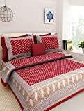 Jaipuri printed 100% cotton pure rajasthani tradition king size double bedsheet with two pillow covers By Uniq Prints