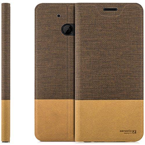 zanasta Designs Tasche HTC 10 Hülle Flip Case Slim Schutzhülle Handytasche mit Kartenfach, Standfunktion | Hellbraun 10 Slim Tasche Case