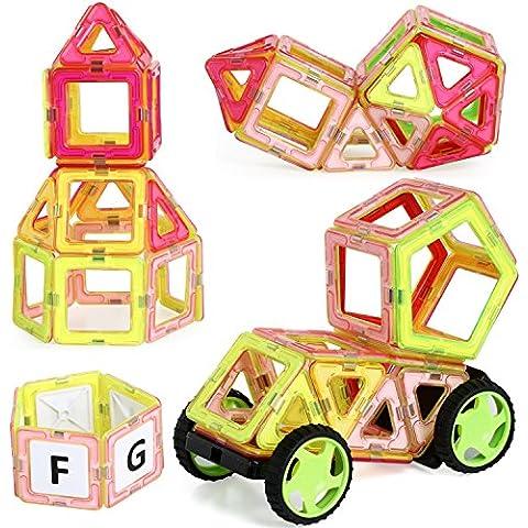 TRIXES Set di 77 mattoncini magnetici colorati per giocare e (Triangolo Attività)