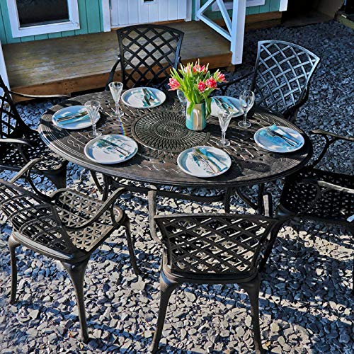 Emily-set (Lazy Susan - EMILY 150 x 95 cm Ovaler Gartentisch mit 6 Stühlen - Gartenmöbel Set aus Metall, Antik Bronze (MARIA Stühle, Beige Kissen))