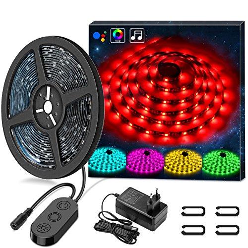 LED Tira, Minger Tira LED Música 5M 5050 RGB Multicolor SMD LED Tira de Luz Impermeable, Micrófono Incorporado, Con un controlador + Fuente de Alimentación Para habitación, jardín, bar, fiesta, cumpleaños, boda, etc.