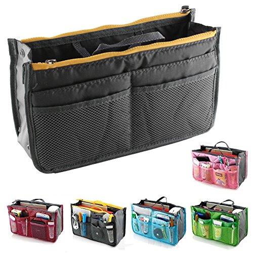 fenrad Doppel-Reißverschluss Multifunktions Handtaschenordner Handtasche Organizer Reisetasche Trading Tasche (Grau)
