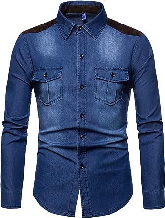 AOWOFS Men's Denim Shirt Longsleeve Regular Fit Westernshirt Denim Leisure