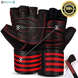 Gym Gloves, FITLETHIC Weightlifting Gloves with Soft Padding and Wrist Wrap Support for Good Grip, Full Palm Protection- Suitable for Men and Women- Ideal for Weightlifting, Crossfit Training, Fitness, Pull Ups Medium (19.0-20.5)cm