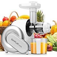 Entsafter, SimpleTaste Slow Juicer Automatischer horizontaler Saftauffangbehälter Kaltpress mit Saftbehälter, maximale Nährstoffextraktion für Obst und Gemüse