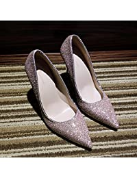 Zapatos de Tacón Alto de Tacón Alto con Zapatos de Mujer Puntiagudos,Mi,37