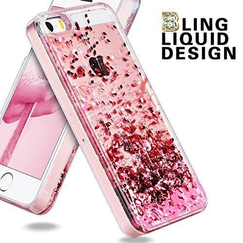"""We Love Case iPhone 7 / 8 Hülle Glitzern Treibsand Flüssig Quicksand Funkeln Bling Liquid Liebe iPhone 7 / 8 4,7"""" Hülle Rose Gold Schutzhülle Handyhülle Handytasche Handycover PC Harte Case Anti-Scrat Rose Gold"""