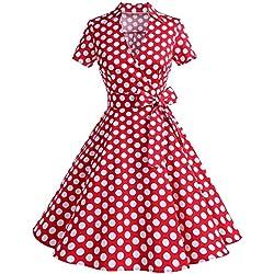 ZAFUL Mujer Vintage Vestido de Fiesta Noche Cuello en V Rockabilly Dress Tallas Grande S-4XL (3XL/50, Rojo puntos)