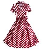 Caissen Damen 50er Vintage Retro Kurzarm Rockabilly Cocktail Kleid Polka Punkte Swing Partykleid Reißverschluss Rot Weiße Gepunktet Größe XXL