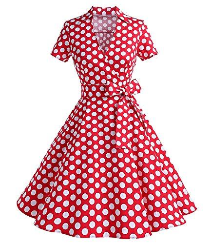 Caissen Damen 50er Vintage Retro Kurzarm Rockabilly Cocktail Kleid Polka Punkte Swing Partykleid Reißverschluss Rot Weiße Gepunktet Größe M (Iconic Damen Kostüm)