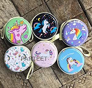Parteet Multipurpose Coin - Earphone Pouch-for Birthday Party Return Gift (Pack of 6) (Unicorn Coin Pouch 6Pc)