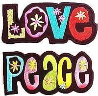 Patch termoadesiva Applique applicazioni 2 pezzi 10 cm Love + 10 cm Peace