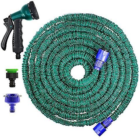 Senhai versión de la mejora más fuerte Manguera de jardín, 50 pies extensible, plegable manguera de utilidad para el riego, limpieza, con 8 posiciones de boquilla y tubo conector 2 del agua
