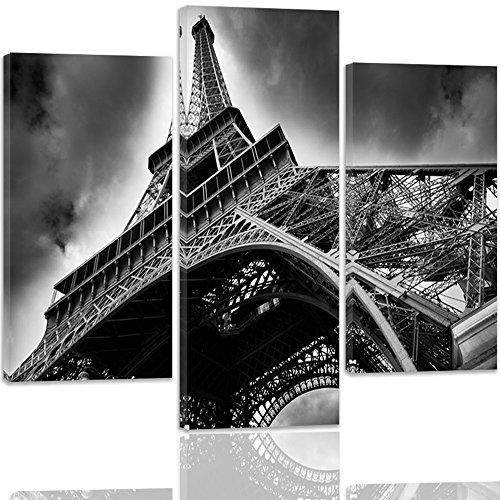 Feeby Frames, Tableau multi panneau 3 parties, Tableau imprimé xxl, Tableau imprimé sur toile, Tableau deco, Type A, 60x80 cm, ARCHITECTURE, TOUR, EIFFEL, PARIS, BÂTIMENTS, NOIR