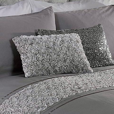 Just Contempo - Juego de funda nórdica y dos fundas de almohada, diseño con apliques florales, color rosa, mezcla de algodón, gris, cojín (30 x 45