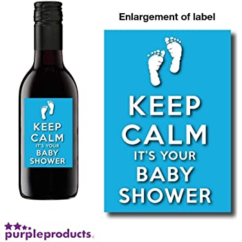 10x Personalised Keep Calm Blue Baby Boy Shower Mini Wine Non