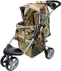 InnoPet Buggy Camouflage Hundebuggy Günstig Hunde Buggy Buggie Hundewagen Hundetransportwagen Pet Stroller bis 25kg Grau