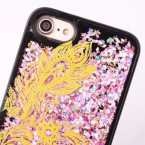 Coque iphone 6 liquide, LuckyW Housse Etui Attrapeur de rêves Modèle PC Matériel Hardcase pour Apple iPhone 6 6S(4.7 pollice) 3D Bling Glitter Briller Sparkle Éclat Flowing Fluide Flottant Liquide Sab Fleur de paon