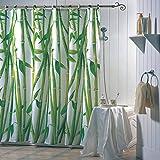 "MSV 141676 Rideau de Douche ""Bambou"" en Polyester 180x200cm Polyester Blanc/Vert 30 x 20 x 15 cm"