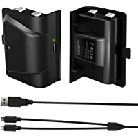 Xbox One Battery Pack, 2x1200mAH Xbox One Controller Rechargeable Battery Pack with 4FT 2 in 1 Micro USB Charging Cable…