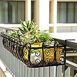 Scaffali porta piante Continental Iron Art Ringhiera Flower Stand Balcone Recinzione Recinzione Tappetino per vasi Appendiabiti da parete Stand espositore Stand per piante (Colore : 50*29*16cm)