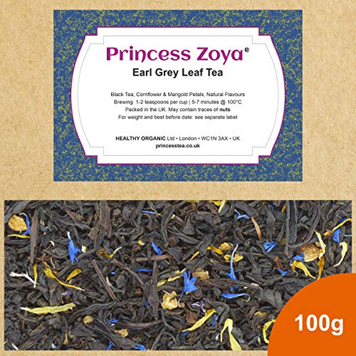 Earl Grey Blue Flower Bergamot Leaf Tea, 100g, Ceylon Loose Tea with Cornflower, Marigold and Real Bergamot Oil in Resealable Bag, Large Leaf, Packed in the UK